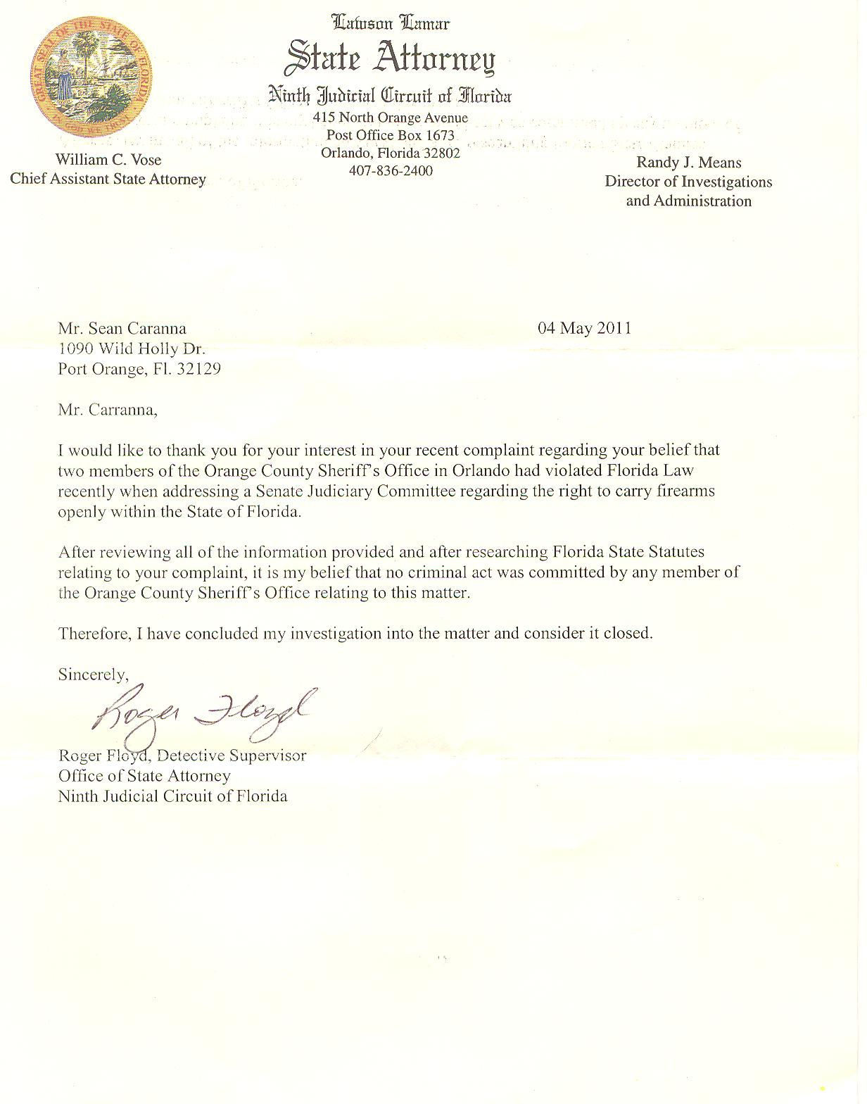 Florida carry request for special prosecutor in gun owner private reply to our request for investigation from the orlando area state attorneys office and our subsequent letter to governor scott requesting a special spiritdancerdesigns Image collections
